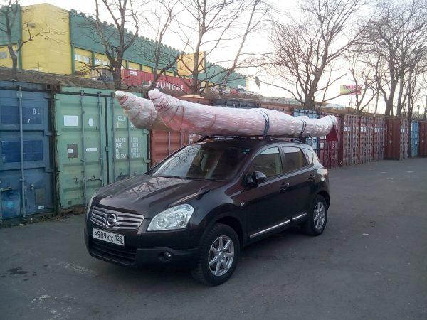 перевозка каяка на крыше